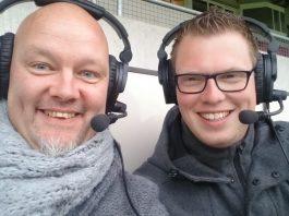 Verslaggevers Sport Live Radio DeventerRTV Erik van Luttikhuizen en Patrick Kieftenbelt