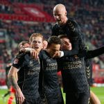 Feestend Go Ahead Eagles bij FC Twente, foto Henny Meyerink